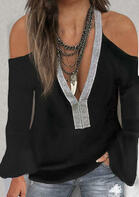 Sequined Splicing Cold Shoulder V-Neck Blouse