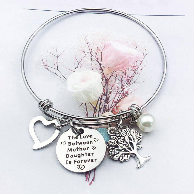 Fairyseason coupon: Mother & Daughter Letter Heart Beading Adjustable Pendant Bracelet