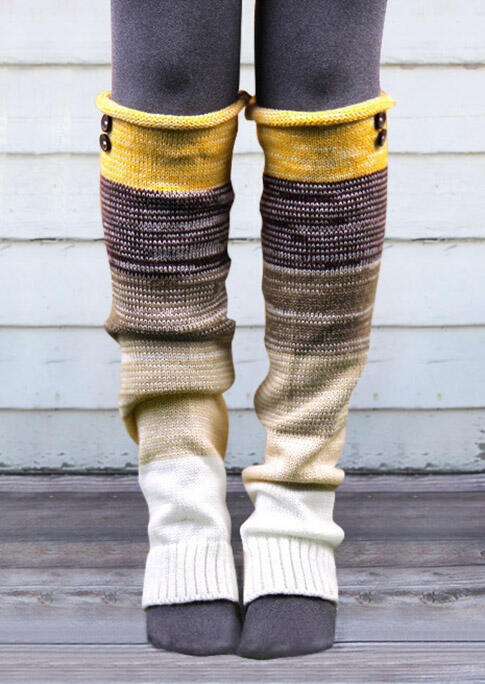 Knee-High Socks Color Block Over Knee Knitted Leg Warmers Socks in Black,Yellow,Rose Red. Size: One Size