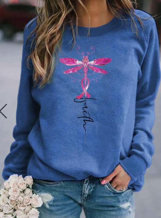 Faith Dragonfly Ribbon Pullover Sweatshirt - Blue