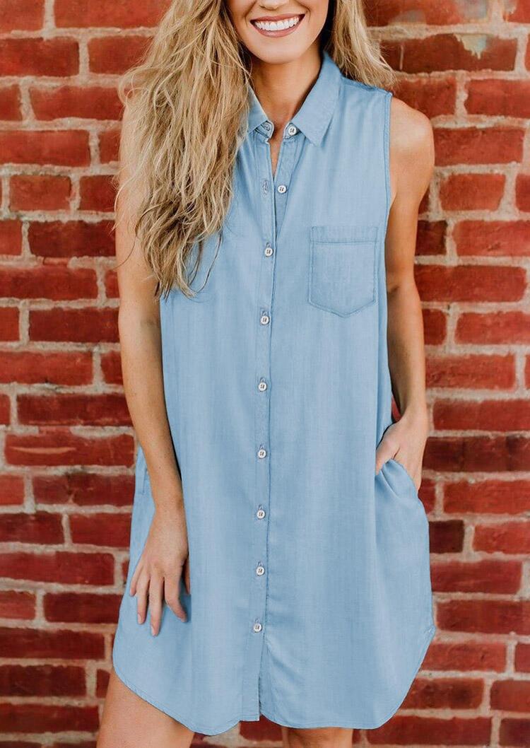 Mini Dresses Denim Pocket Button Sleeveless Mini Dress in Light Blue. Size: S,M,L,XL фото