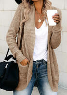 Pocket Long Sleeve Knitted Sweater Cardigan
