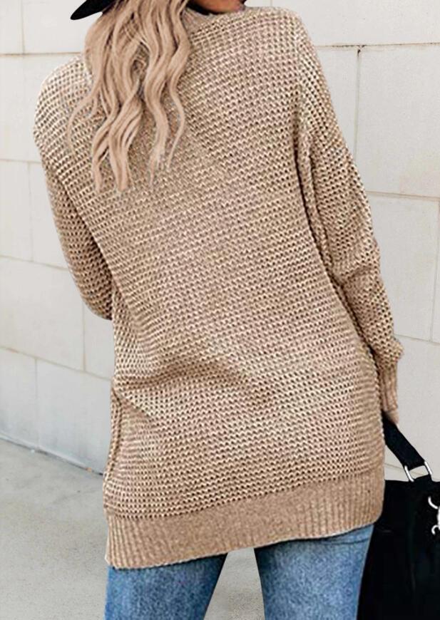 Pocket Long Sleeve Knitted Sweater Cardigan - Khaki