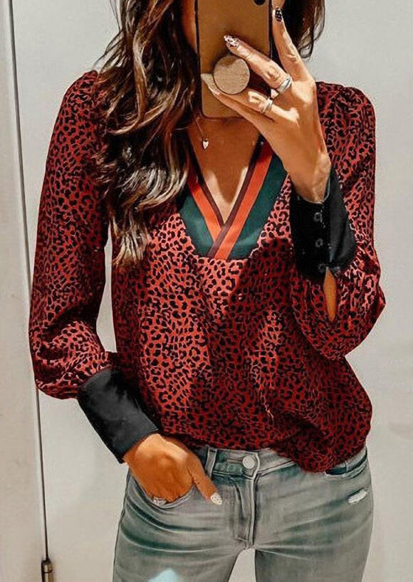 Leopard Splicing Striped V-Neck Blouse - Burgundy