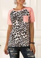 Leopard Splicing Pocket O-Neck T-Shirt