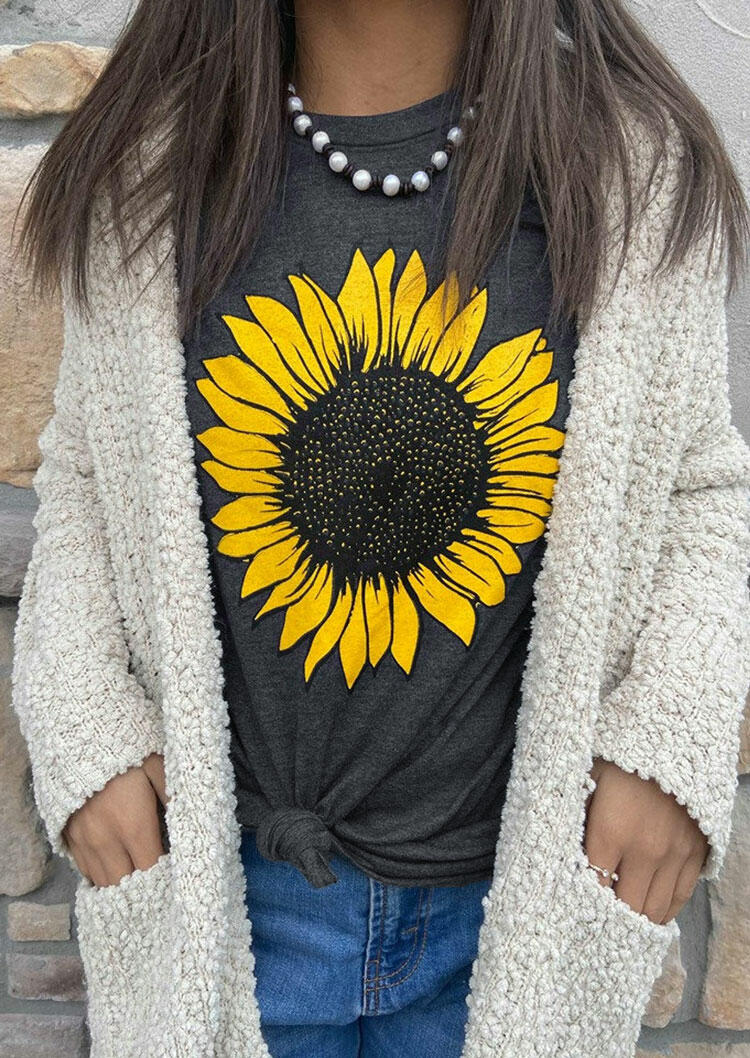 FairySeason / Western Sunflower O-Neck T-Shirt Tee - Dark Grey