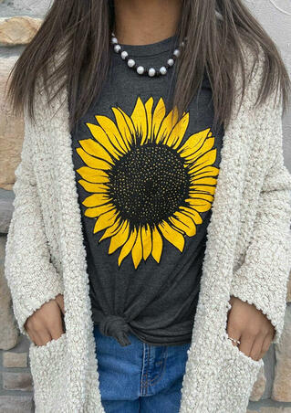 Western Sunflower O-Neck T-Shirt Tee - Dark Grey