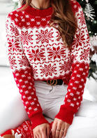 Snowflake Long Sleeve Knitted Sweater - Red
