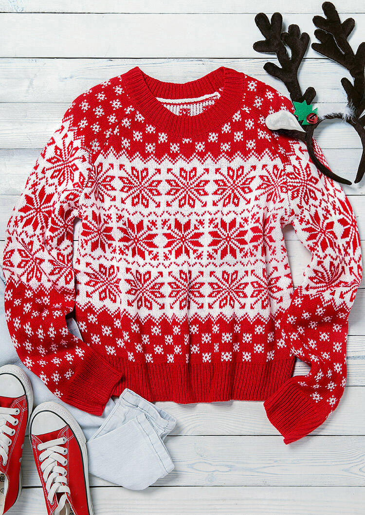 Christmas Snowflake Long Sleeve Knitted Sweater - Red