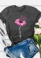Sunflower Ribbon Faith Hope Love T-Shirt Tee - Dark Grey