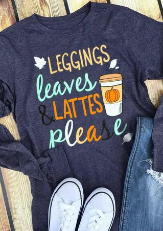 Leaves & Lattes Coffee Pumpkin T-Shirt Tee - Deep Blue