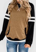 Striped Kangaroo Pocket Pullover Sweatshirt