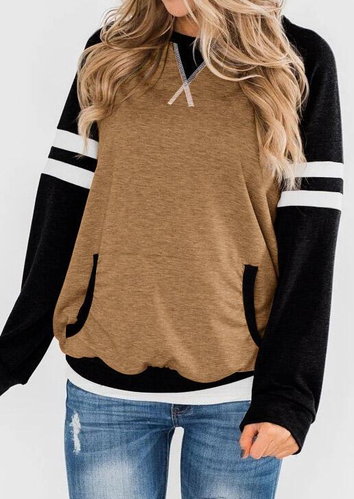 Striped Kangaroo Pocket Pullover Sweatshirt - Coffee