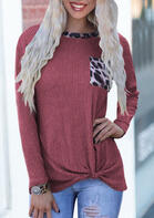 Leopard Splicing Twist Pocket O-Neck Pullover Sweater