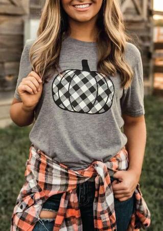 Plaid Pumpkin O-Neck T-Shirt Tee - Gray