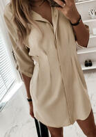Ruffled Button Tab-Sleeve Mini Dress