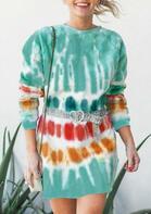 Gradient Tie Dye O-Neck Mini Sweatshirt Dress