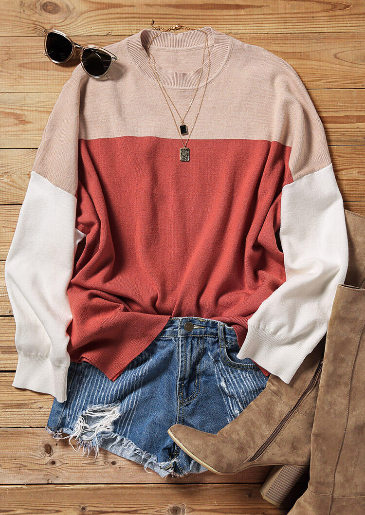 Color Block Batwing Sleeve O-Neck Sweater - Brick Red