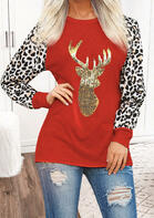 Christmas Leopard Sequined Splicing Reindeer Blouse