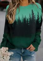 Gradient Treetop Raglan Sleeve Sweatshirt