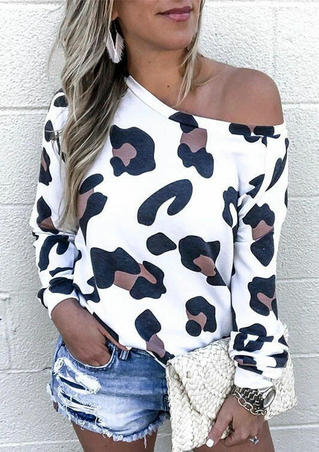 Leopard Long Sleeve O-Neck Blouse