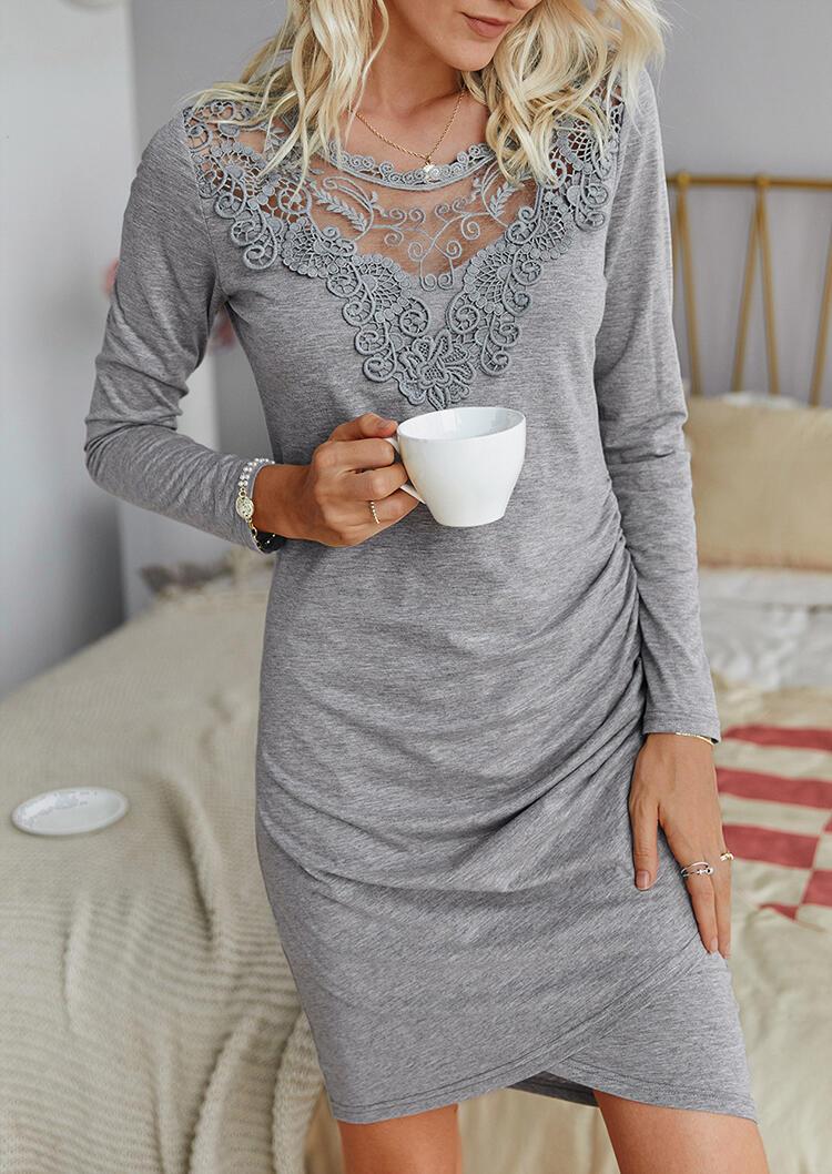 Lace Splicing Ruffled Sheer Neckline Mini Dress - Gray фото