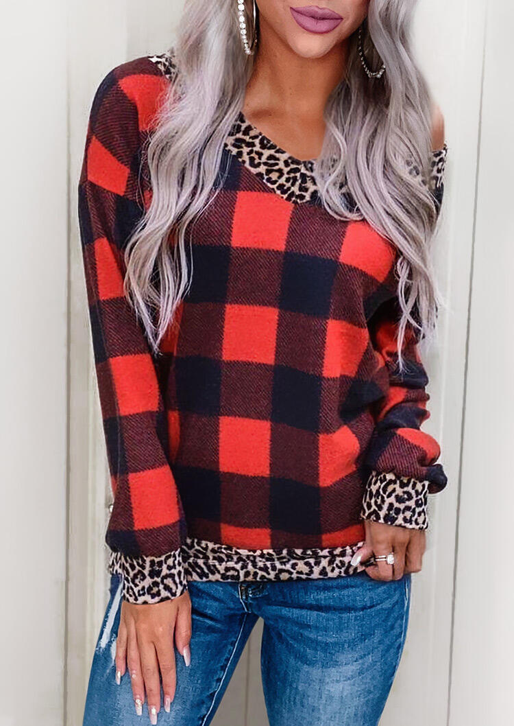 Plaid Leopard Splicing Long Sleeve Blouse