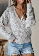 Wrap Hollow Out Knitted Sweater - Gray