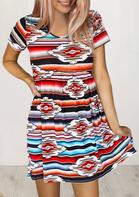 Vintage Aztec Geometric Pocket Mini Dress
