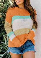 Color Block Striped Long Sleeve Pullover Sweater
