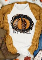 Thanksgiving Happy Fall Leopard Pumpkin T-Shirt