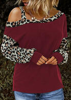 Leopard Cold Shoulder Blouse - Burgundy