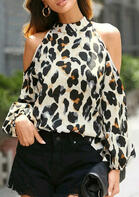 Leopard Halter Cold Shoulder Blouse
