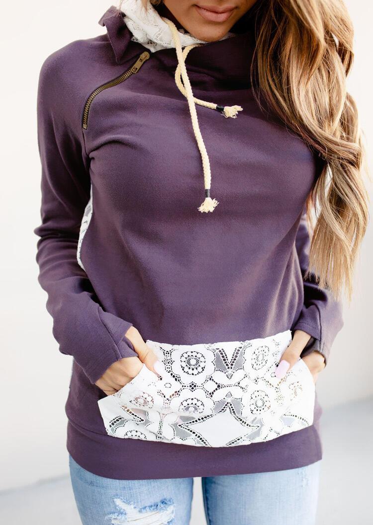 Lace Splicing Zipper Drawstring Kangaroo Pocket Hoodie - Purple