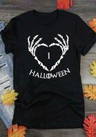I love Halloween Heart T-Shirt Tee - Black