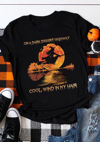 Halloween On A Dark Desert Highway Witch T-Shirt Tee - Black