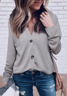 Button V-Neck Long Sleeve Cardigan