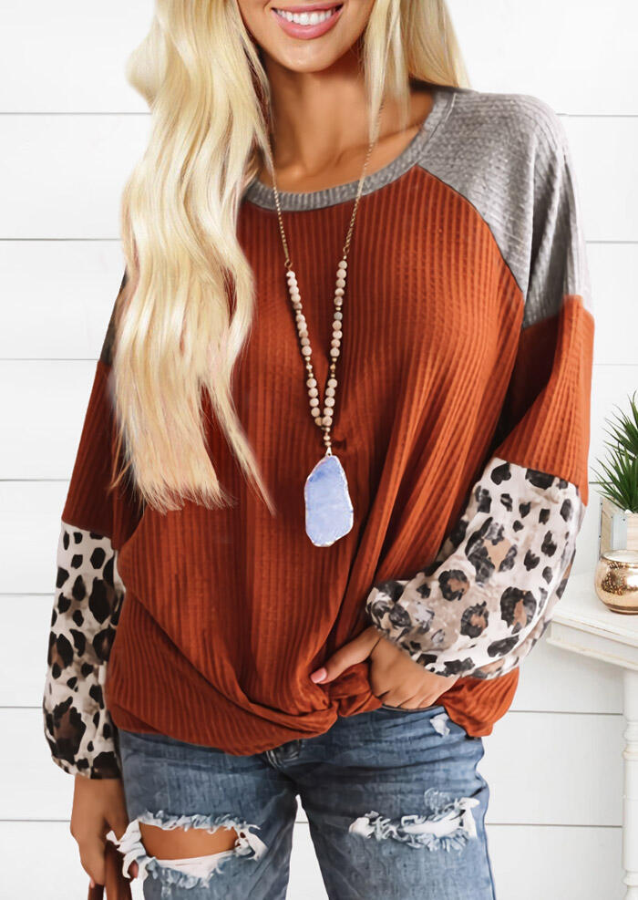 Leopard Waffle Splicing Twist O-Neck Blouse - Brick Red