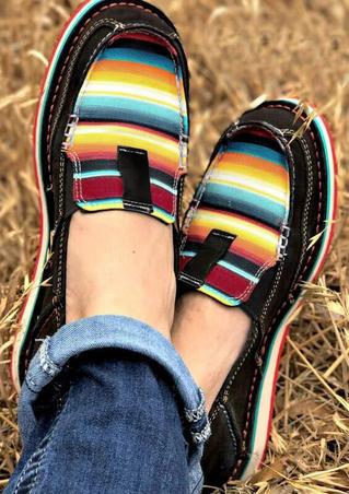 Serape Striped Splicing Flat Canvas Sneakers - Black