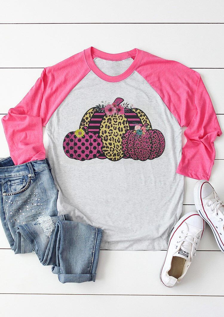 FairySeason / Leopard Flower Striped Polka Dot Pumpkin T-Shirt Tee - Gray