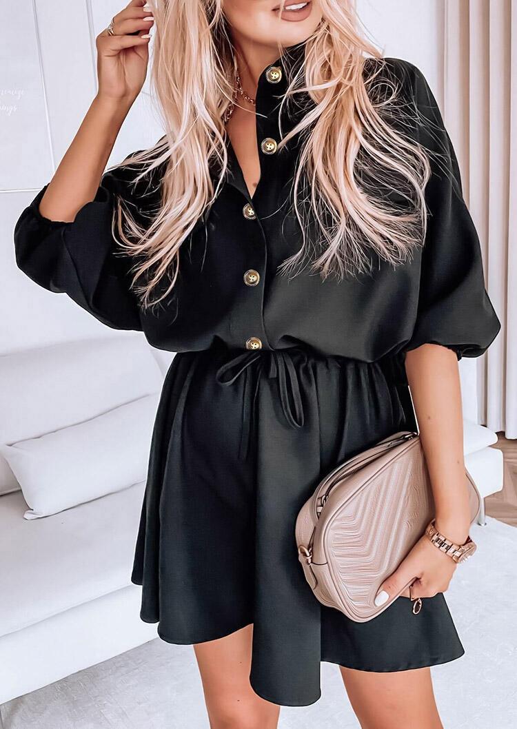 Fairyseason coupon: Button Drawstring Elastic Cuff Casual Mini Dress - Black