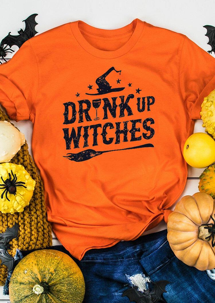 Halloween Drink Up Witches T-Shirt Tee - Orange