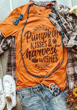 Pumpkin Kisses Graphic T-Shirt Tee - Orange