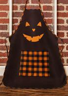 Halloween Plaid Jack O'Lantern Pocket Apron