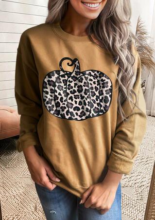 Thanksgiving Leopard Pumpkin O-Neck Sweatshirt - Coffee