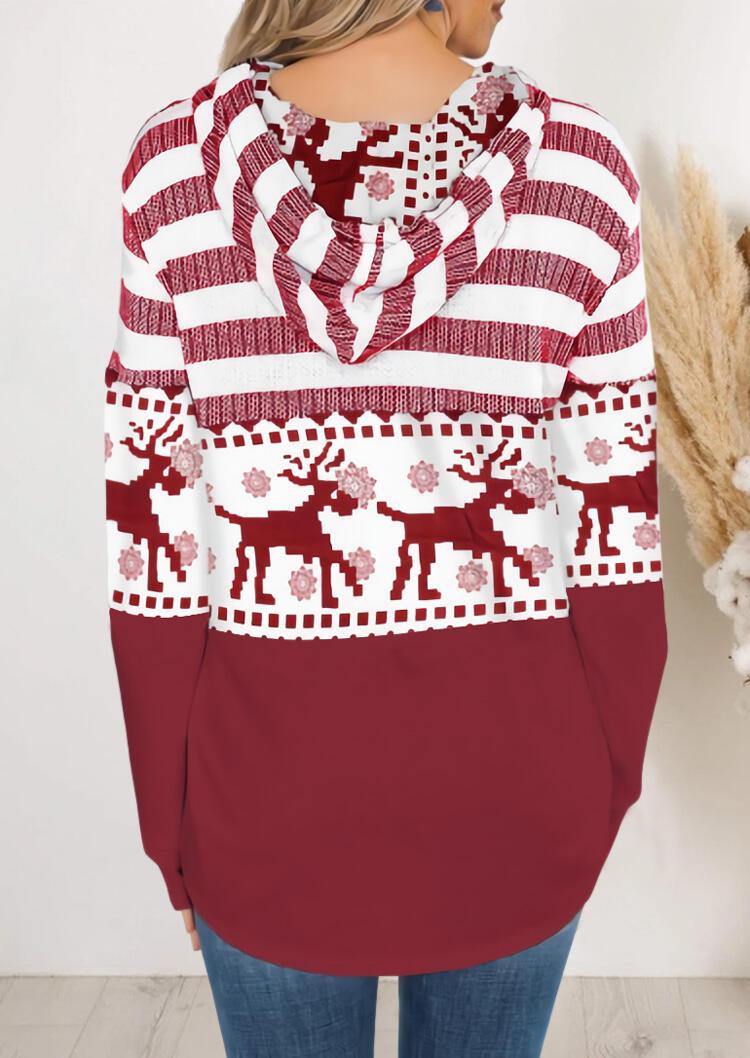 Hoodies Christmas Reindeer Mandala Striped Splicing Drawstring Hoodie in Red. Size: XL