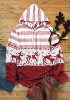 Christmas Reindeer Mandala Striped Splicing Drawstring Hoodie