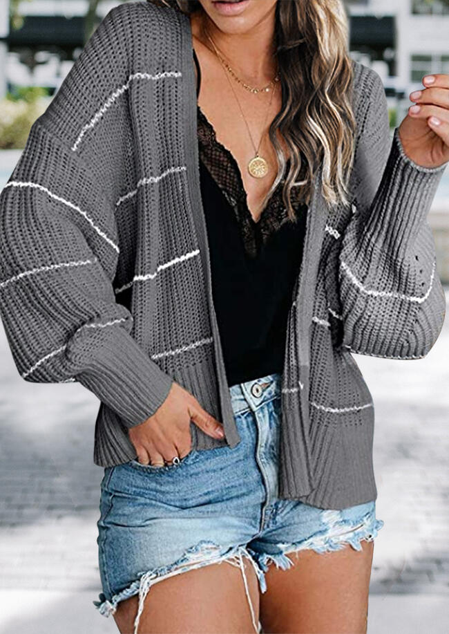 Striped Batwing Sleeve Knitted Cardigan - Gray