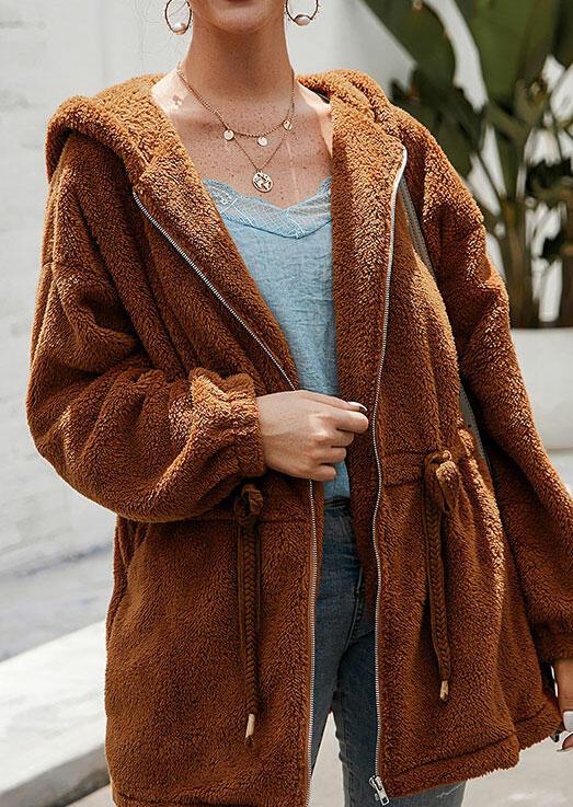 Winter Warm Drawstring Pocket Zipper Hooded Coat - Light Brown