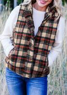 Winter Warm Plaid Button Pocket Sleeveless Vest Coat